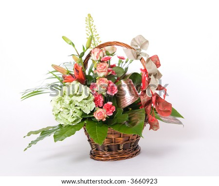 Basket full of variety colorful flowers
