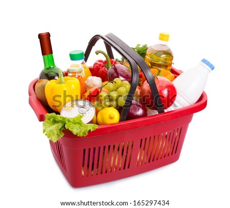 Basket full off fruits and vegetables. Food set. Isolated over white. - stock photo