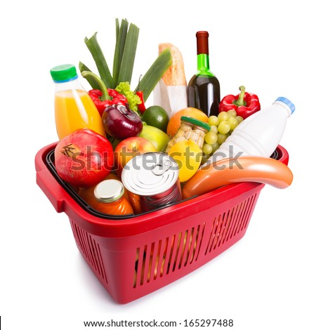 Basket full off fruits and vegetables. Isolated over white. - stock photo