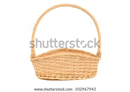 Basket in front of a white studio background