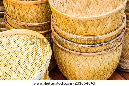 Basket made from bamboo. - stock photo