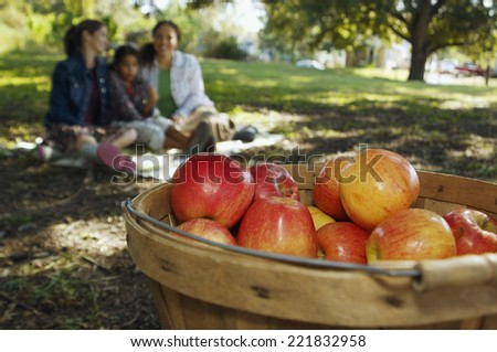 Basket of apples with family in background - stock photo