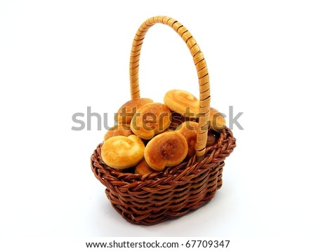 Basket of Bread Rolls - stock photo