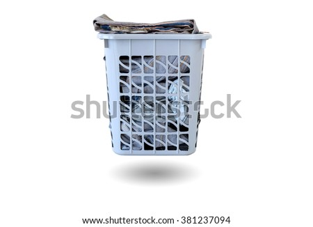 Basket of clothes to wash and prepare isolated on white background.