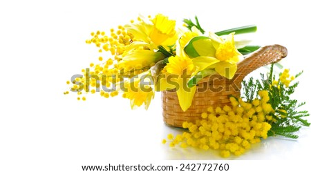 Basket of flowers - stock photo