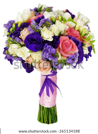 Basket of flowers and greens isolated on white - stock photo