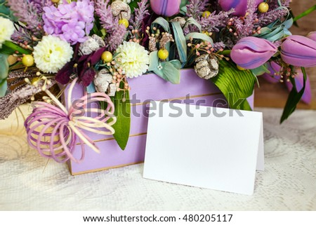 basket of flowers with a clean sheet of paper, Copy Space