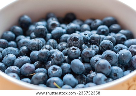 Basket of fresh blueberries in close up - stock photo