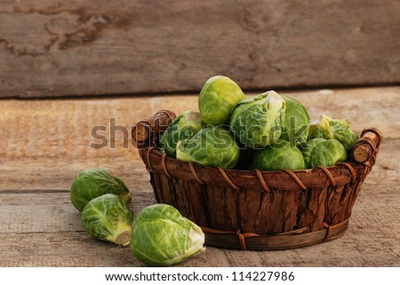 Basket of fresh green brussels sprouts