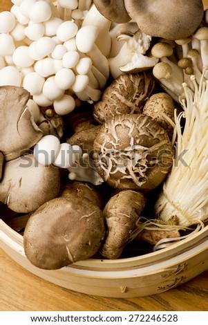 Basket of Fresh Organic Mushrooms - stock photo