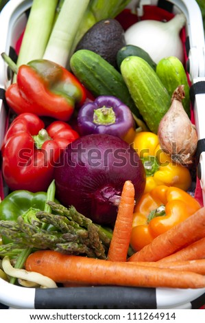 Basket of fresh produce from a farmers market - stock photo