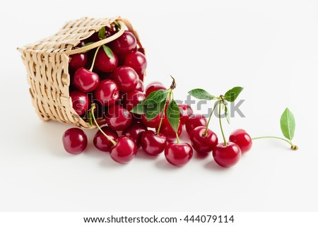 Basket of fresh sour cherries - stock photo