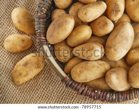 Basket of fresh tasty new potatoes placed on the sack - stock photo