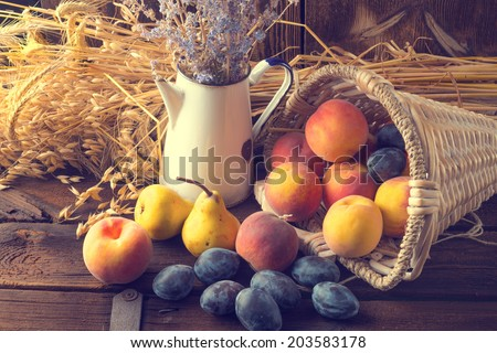 basket of fruit - stock photo