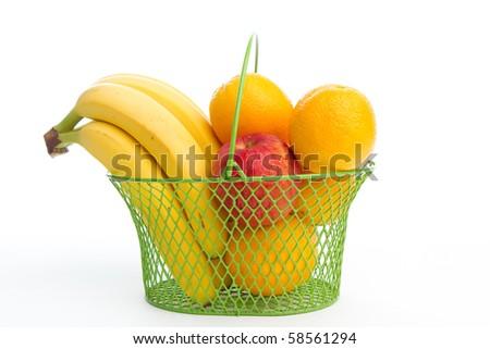 Basket of fruits - stock photo