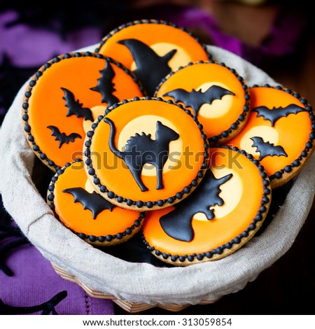 Basket of Halloween cookies - stock photo