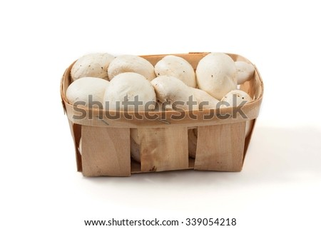 basket of mushrooms, isolated on a white background
