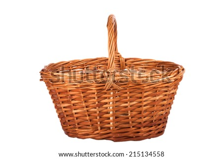 basket of mushrooms isolated on white background - stock photo