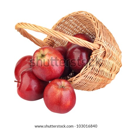 basket of red apples on white background - stock photo