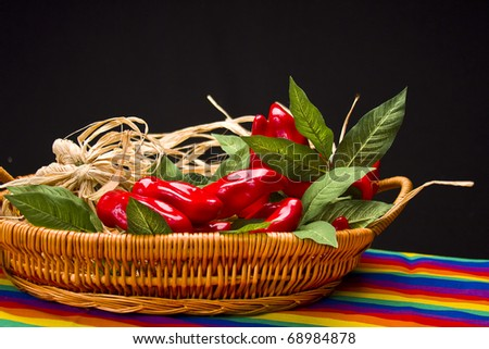 Basket of red peppers on festive mexican tablecloth