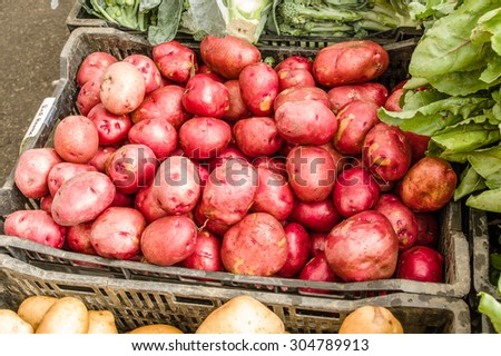 Basket of red potatoes displayed at the farm market
