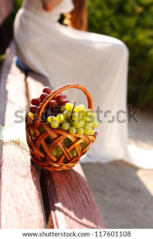 Basket of ripe  grapes on a wooden bench. The bride in a white dress in the blurred background - stock photo
