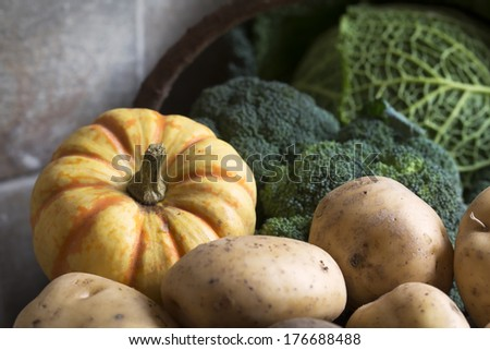 Basket of winter vegetables including broccoli, sweet lightning squash and potatoes. - stock photo