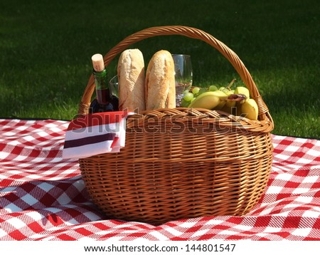 Basket prepared for the picnic in the park