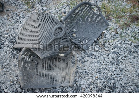 basket rock for construction - stock photo