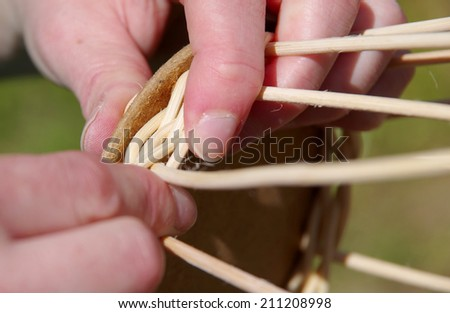 Basket weaving from rattan - stock photo