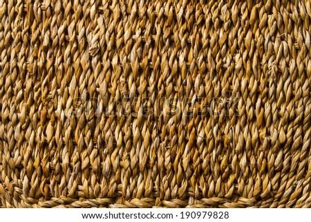 Basket wicker braid weave texture, straw reed macro background  - stock photo