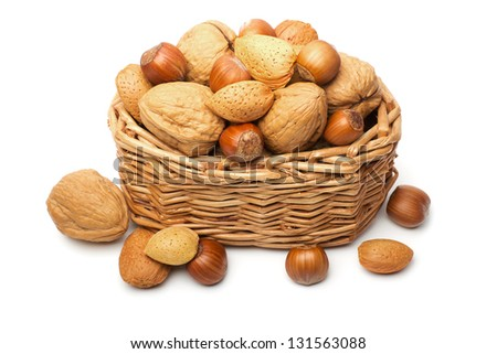 Basket with almonds, walnuts and hazelnuts.