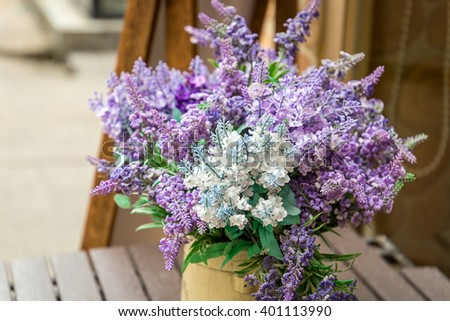 Basket with Beautiful Lavender, Close-up - stock photo