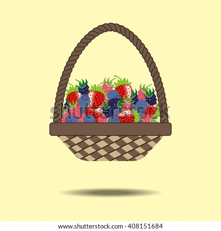 Basket with berries. Strawberry, raspberry, blueberry, blackberry. Illustration