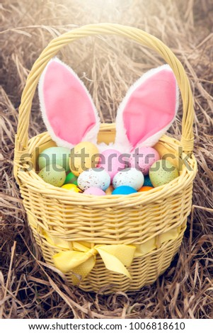 Basket with colorful eggs outside. Easter day.