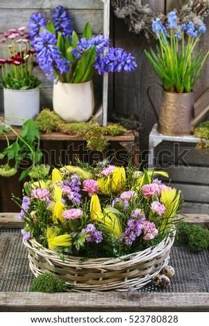Basket with daffodils, carnations and buxus. Easter floral arrangement.