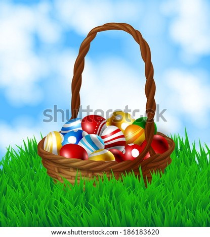 Basket with  Easter eggs. Wooden basket with many  Easter eggs. Spring background with fresh green grass and blue sky with fluffy white clouds.