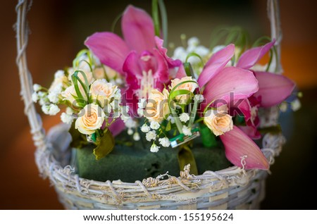 Basket with flowers at a wedding
