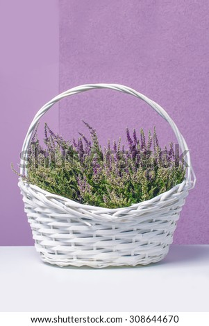 Basket with flowers ,heather - stock photo