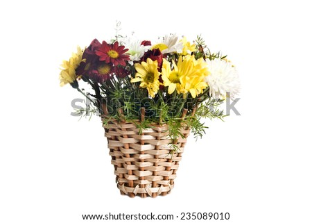 Basket with flowers isolated on white background - stock photo
