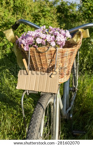 Basket with flowers on a bicycle
