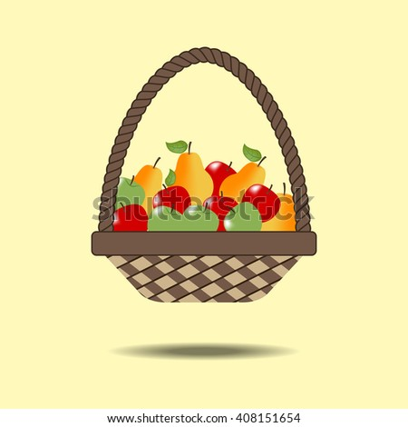 Basket with fruit on the yellow background. Pear. Apple. Illustration