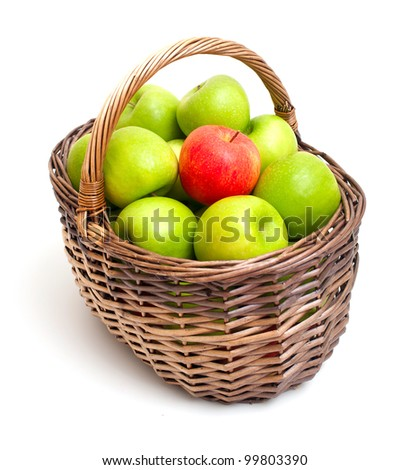 basket with green apples and one red one