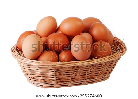 Basket with many eggs isolated on white background