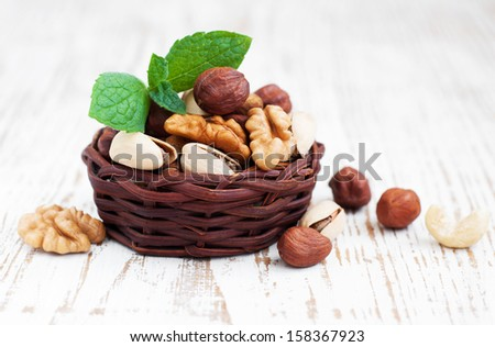 Basket with Mixed nuts on a old wooden background