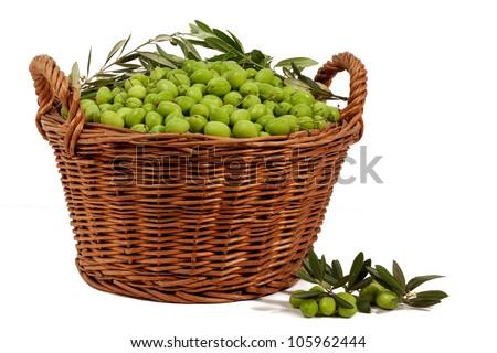 Basket with Olives isolated on white - stock photo