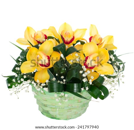 Basket with orchid flowers. isolated - stock photo