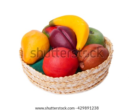 Basket with soap and water in the form of fruits isolated on white background