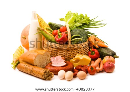 Basket with some food isolated on white background - stock photo