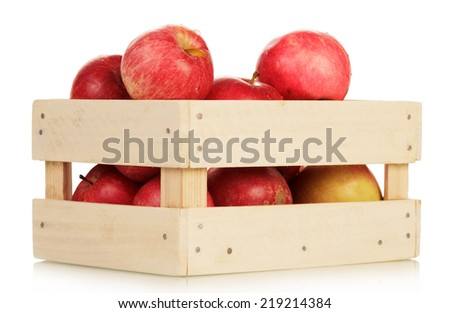 Basket with the apples isolated on white